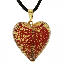 Murano Glass Ruby Red Heart Pendant