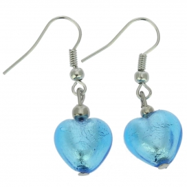 Murano Glass Sky Blue Heart Earrings