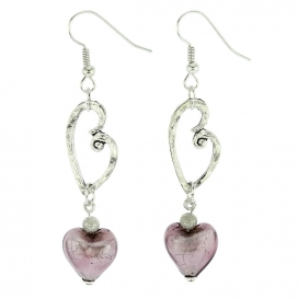 Murano Glass Venetian Amethyst Heart Earrings