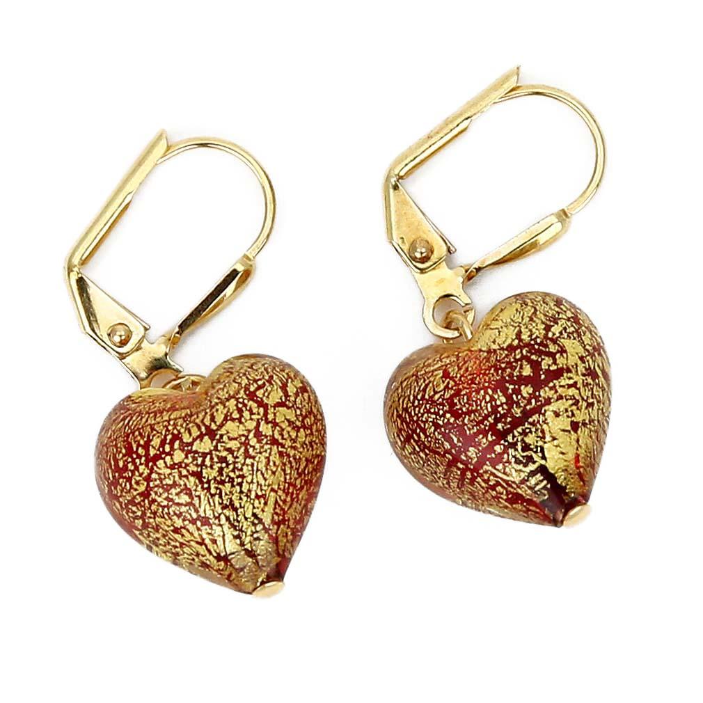 murano glass red heart earrings