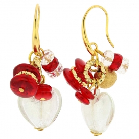 Murano Glass Donatella Red Heart Charm Earrings