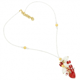 Murano Glass Donatella Red Heart Charms Necklace