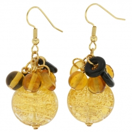 Murano Glass Gold Foil Dangle Earrings