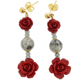 Murano Glass Rosa Di Marmo Earrings