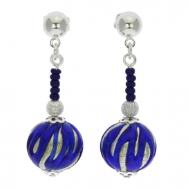 Murano Glass Silver Navy Blue Canaletto Earrings