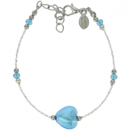 Murano Glass Sky Blue Heart Bracelet