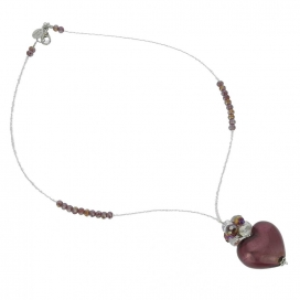 Murano Glass Venetian Amethyst Love Heart Necklace