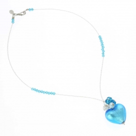 Murano Glass Venetian Aqua Blue Love Heart Necklace