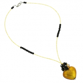 Murano Glass Venetian Gold Love Heart Necklace